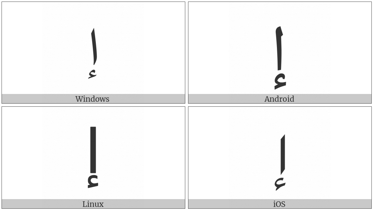Arabic Letter Alef With Hamza Below on various operating systems
