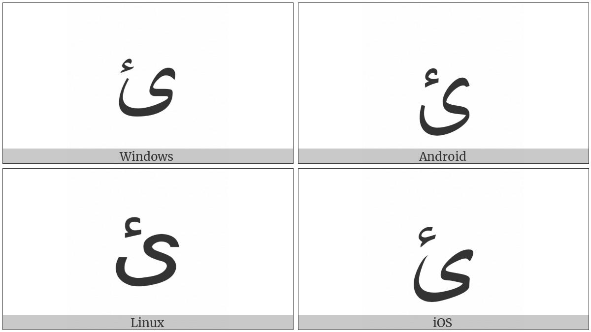 Arabic Letter Yeh With Hamza Above on various operating systems