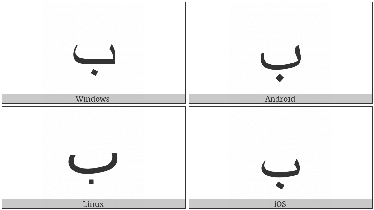 Arabic Letter Beh on various operating systems