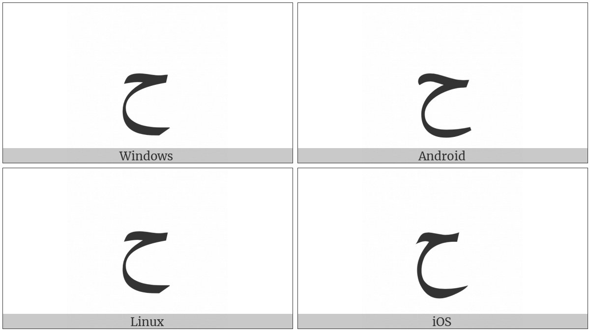 Arabic Letter Hah on various operating systems