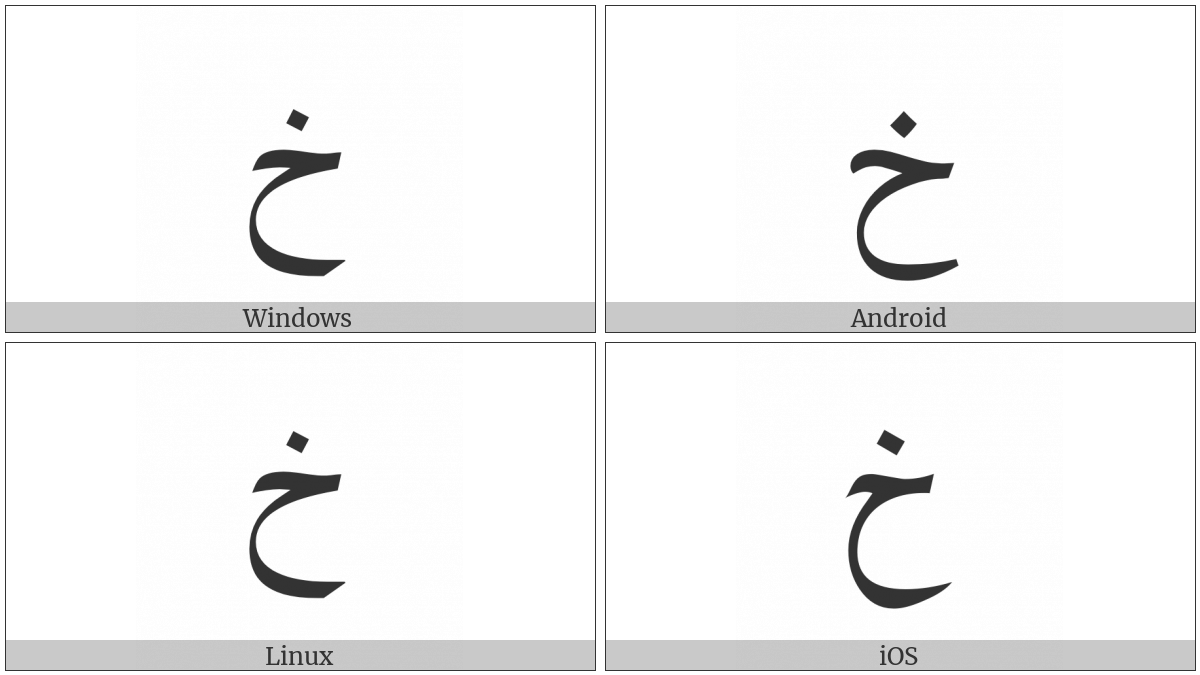 Arabic Letter Khah on various operating systems