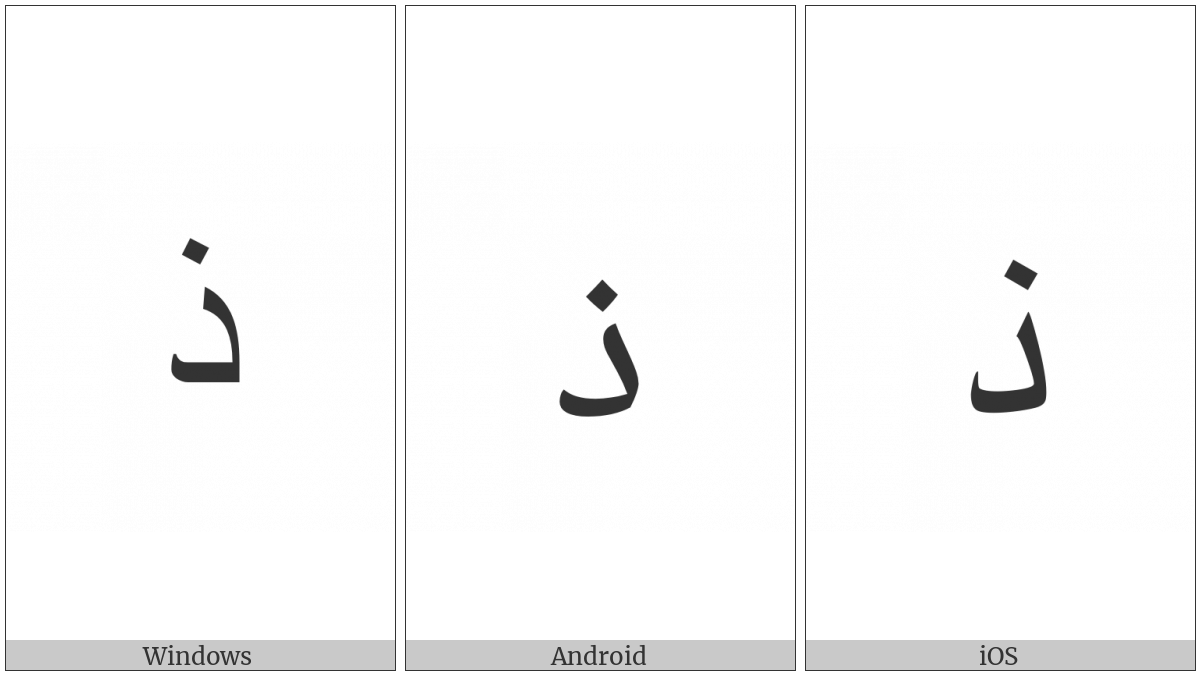 Arabic Letter Thal on various operating systems