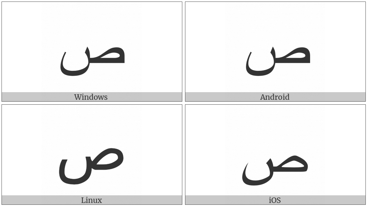 Arabic Letter Sad on various operating systems