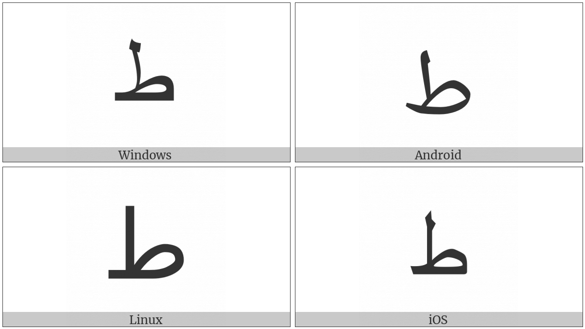 Arabic Letter Tah on various operating systems