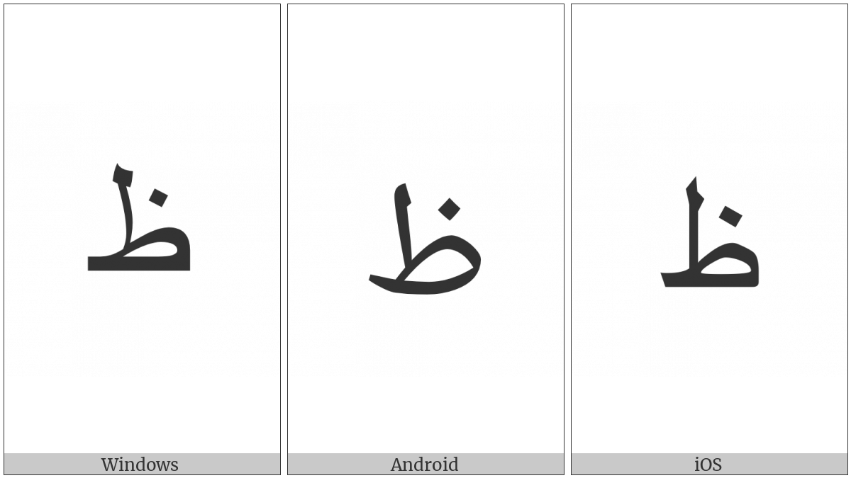 Arabic Letter Zah on various operating systems