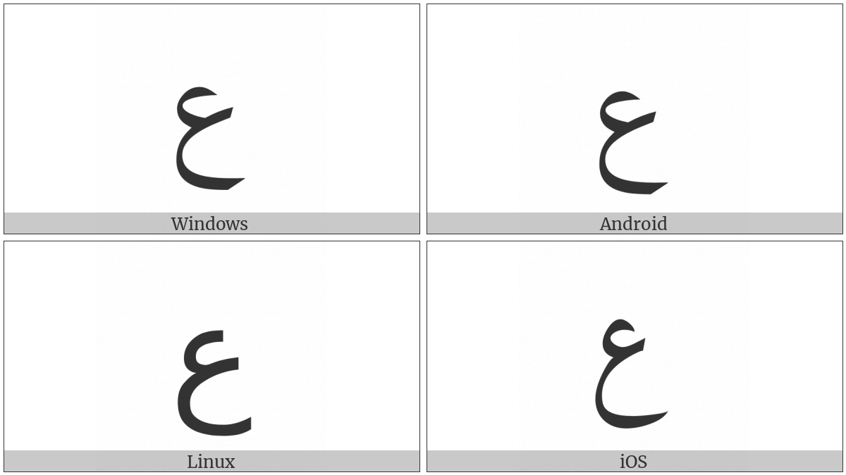 Arabic Letter Ain on various operating systems
