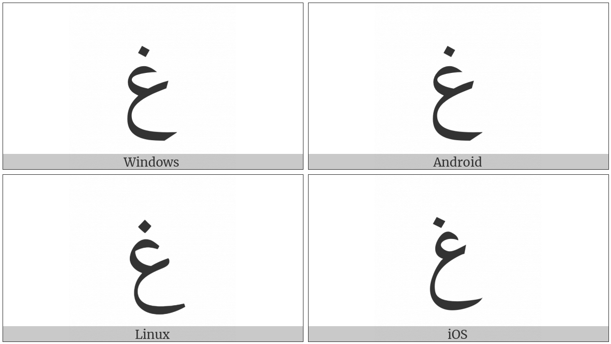 Arabic Letter Ghain on various operating systems