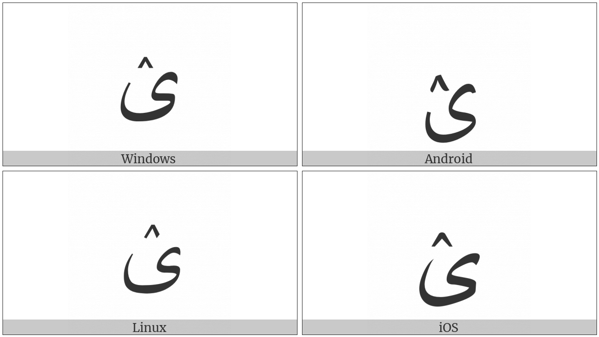 Arabic Letter Farsi Yeh With Inverted V on various operating systems
