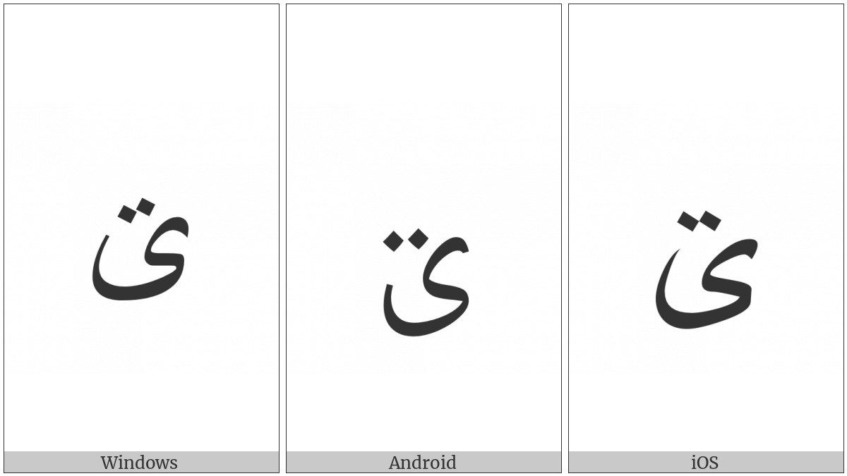 Arabic Letter Farsi Yeh With Two Dots Above on various operating systems