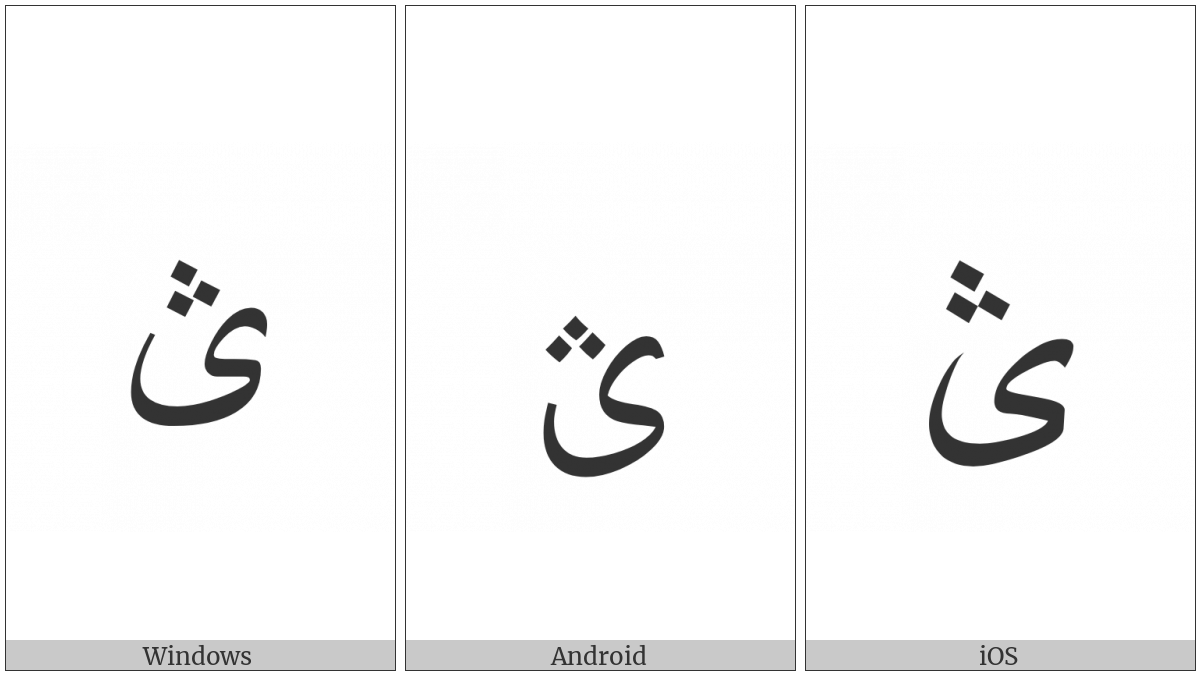 Arabic Letter Farsi Yeh With Three Dots Above on various operating systems