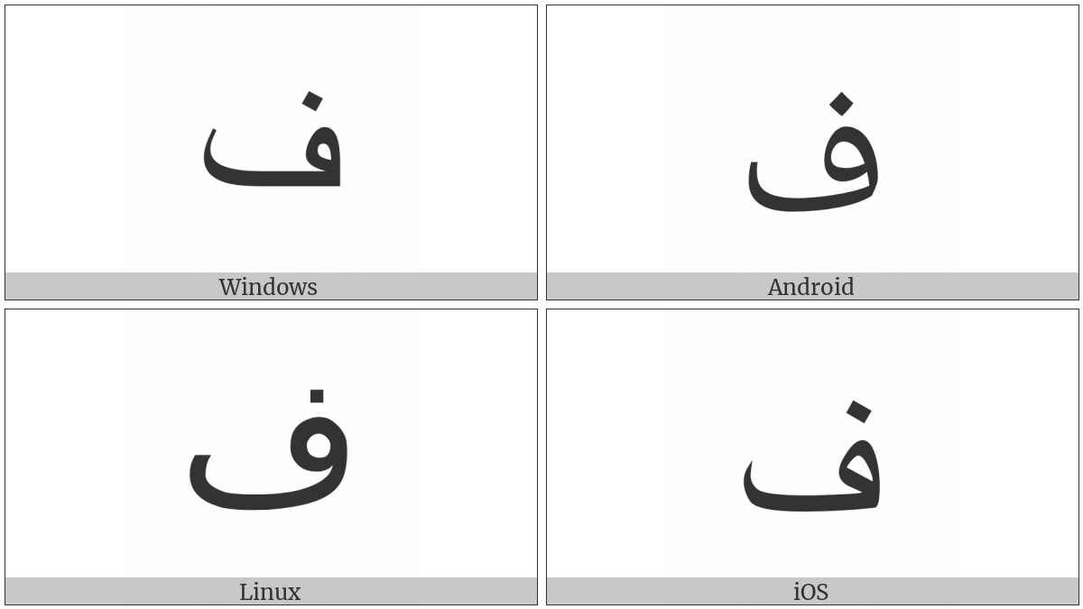 Arabic Letter Feh on various operating systems