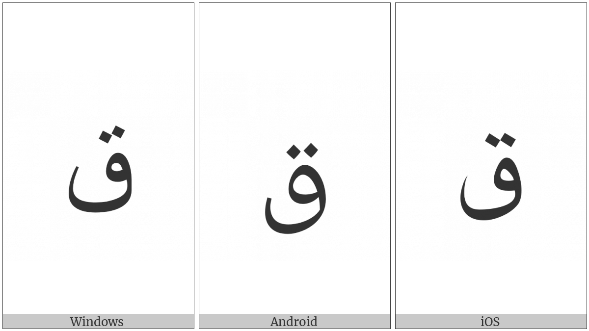 Arabic Letter Qaf on various operating systems