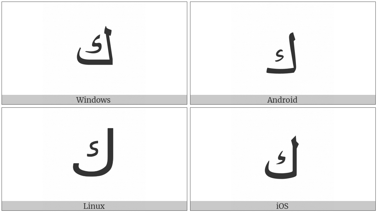 Arabic Letter Kaf on various operating systems