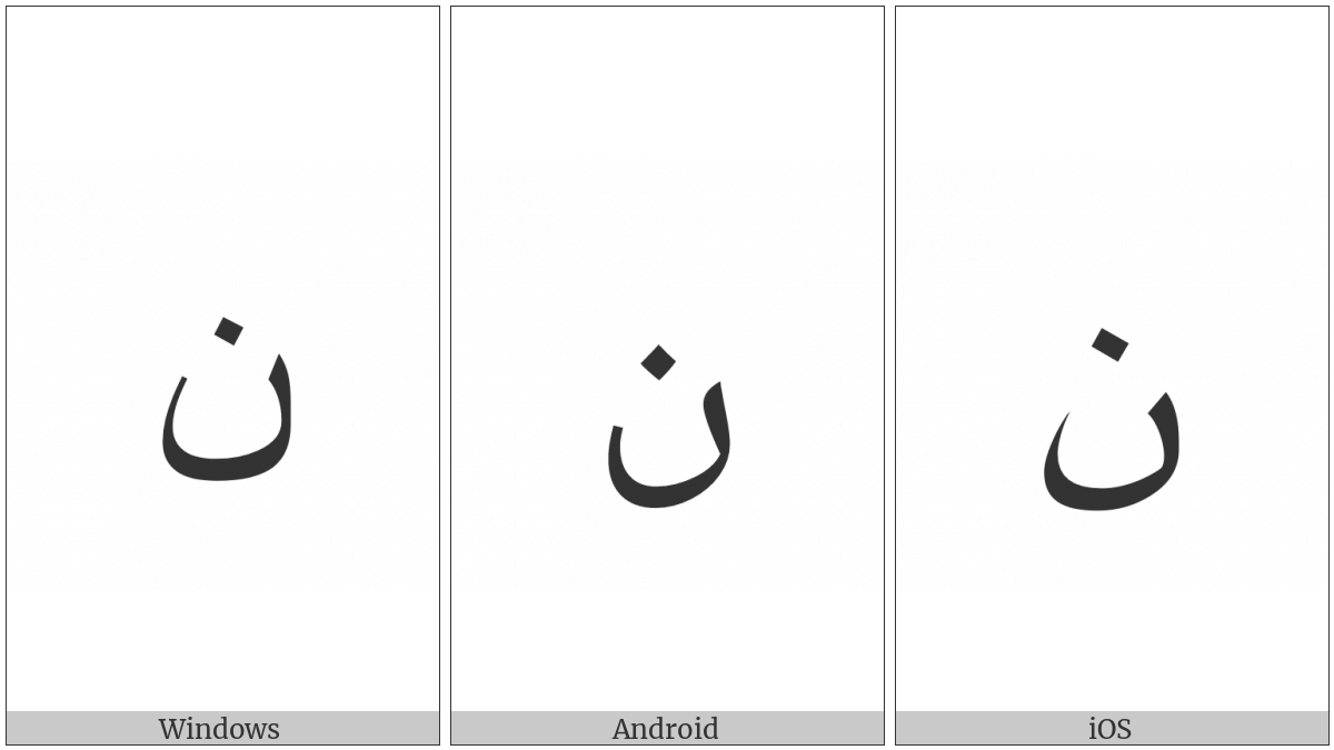Arabic Letter Noon on various operating systems
