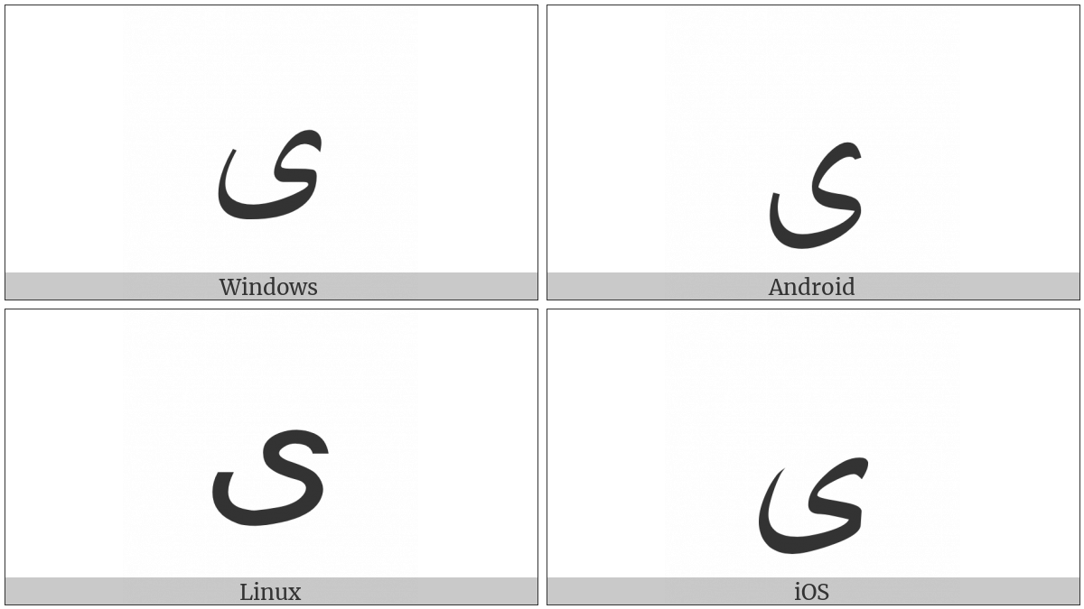 Arabic Letter Alef Maksura on various operating systems