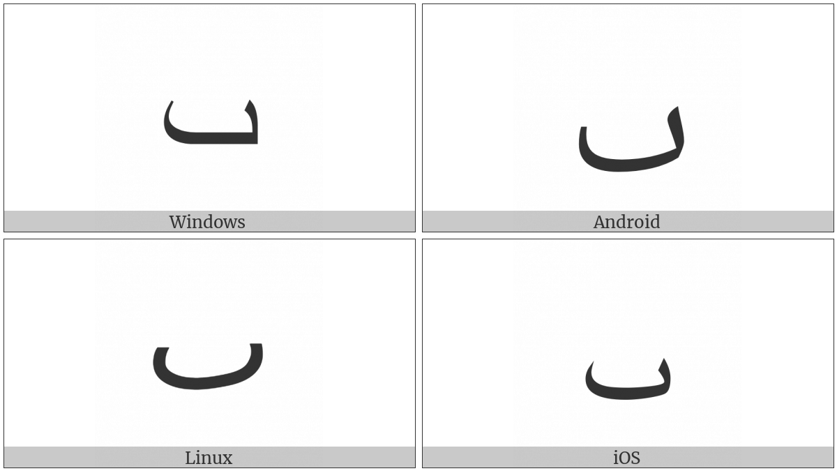 Arabic Letter Dotless Beh on various operating systems