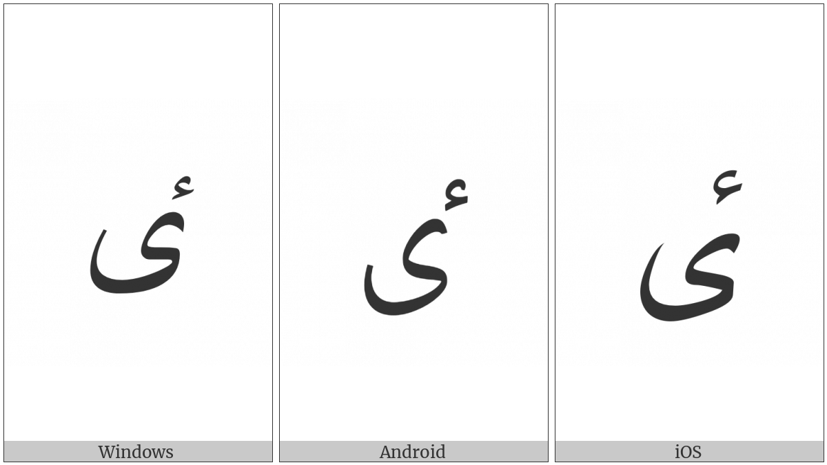 Arabic Letter High Hamza Yeh on various operating systems