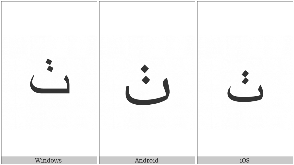 Arabic Letter Tteheh on various operating systems