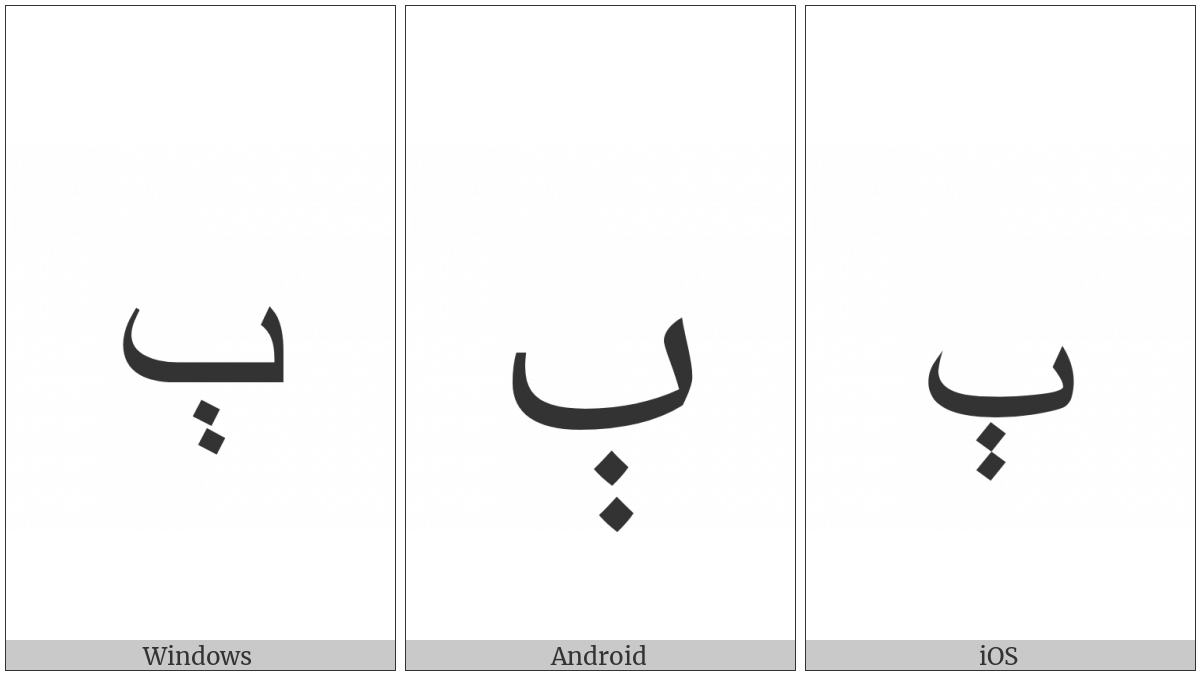 Arabic Letter Beeh on various operating systems