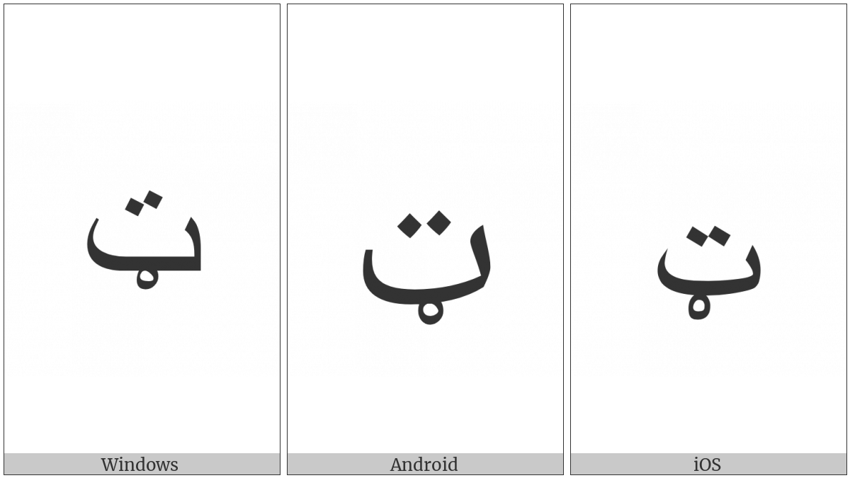 Arabic Letter Teh With Ring on various operating systems