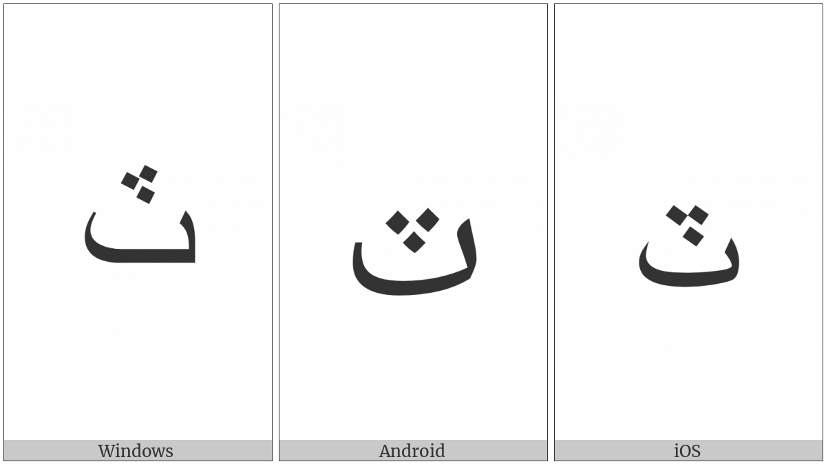 Arabic Letter Teh With Three Dots Above Downwards on various operating systems