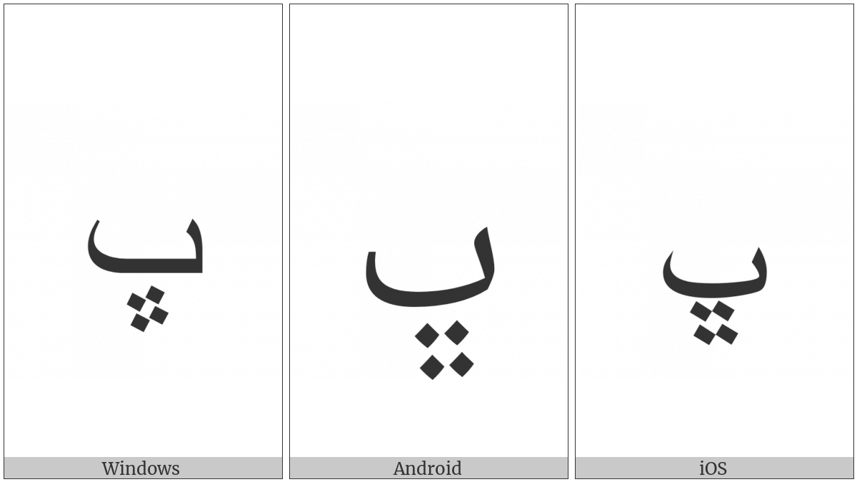 Arabic Letter Beheh on various operating systems