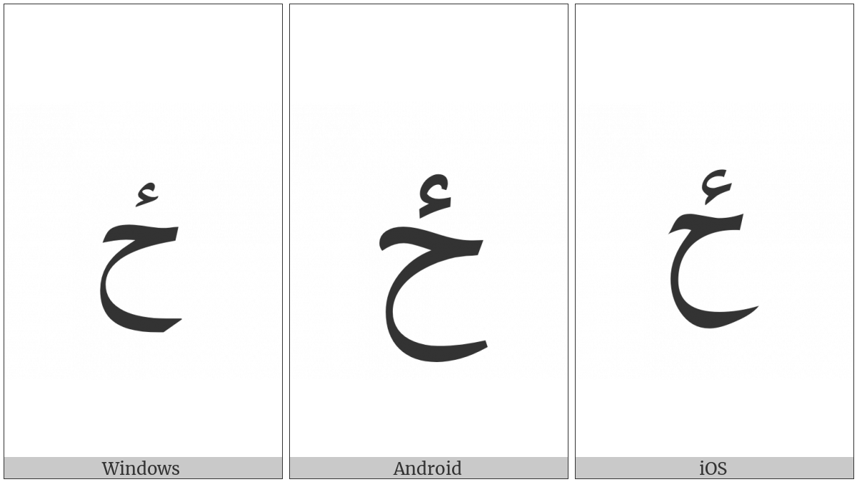 Arabic Letter Hah With Hamza Above on various operating systems