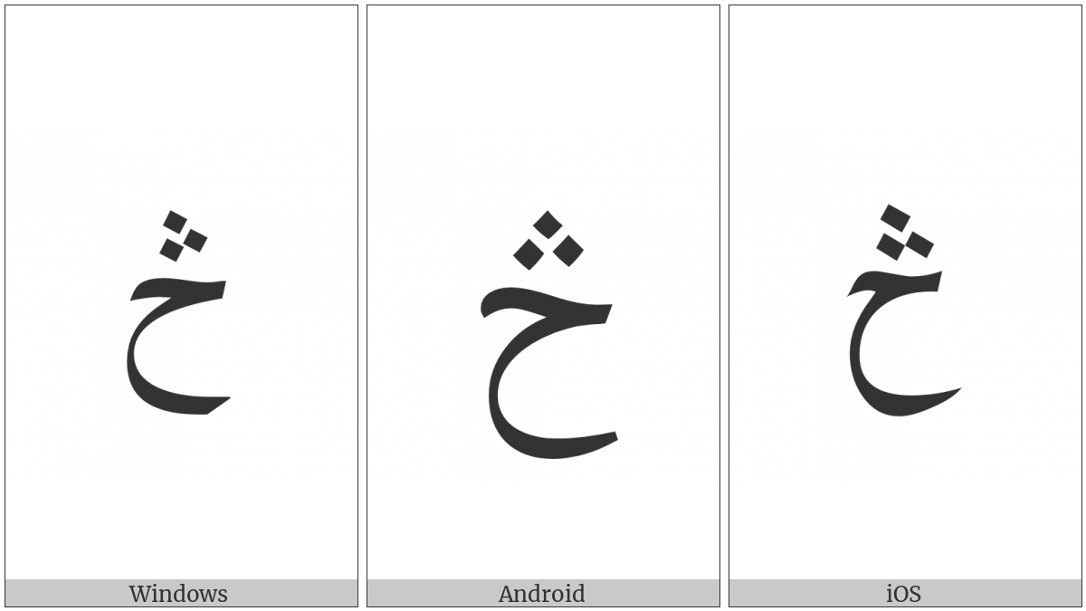 Arabic Letter Hah With Three Dots Above on various operating systems