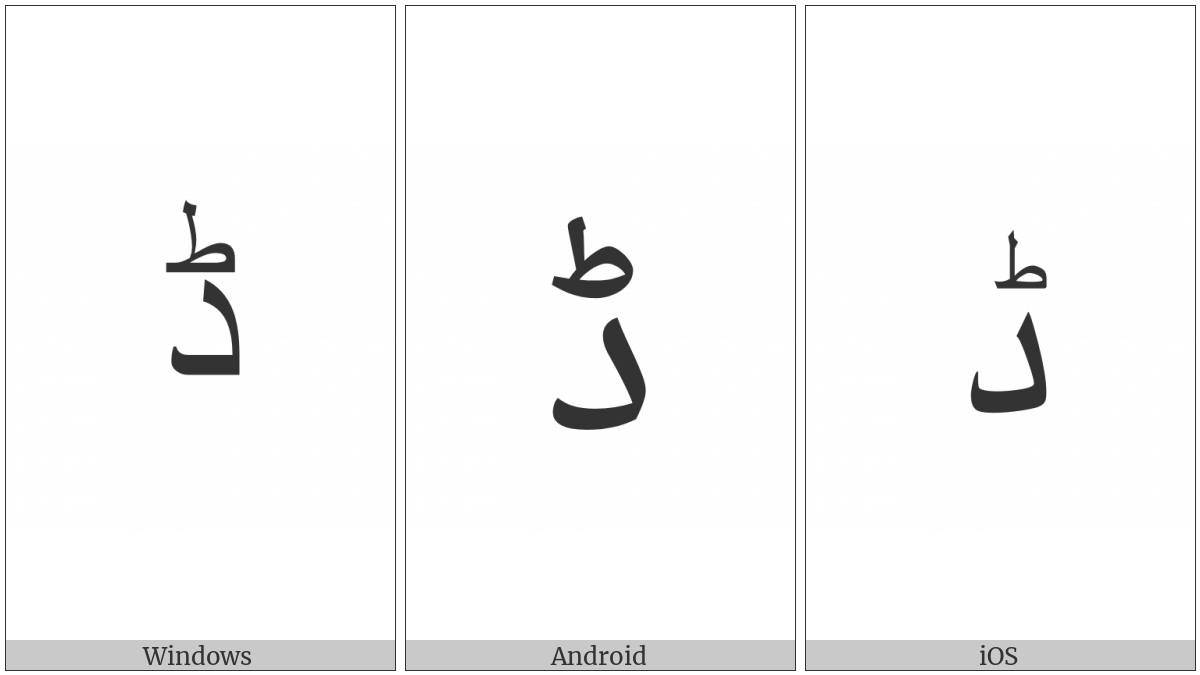 Arabic Letter Ddal on various operating systems