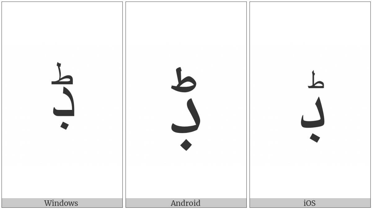 Arabic Letter Dal With Dot Below And Small Tah on various operating systems
