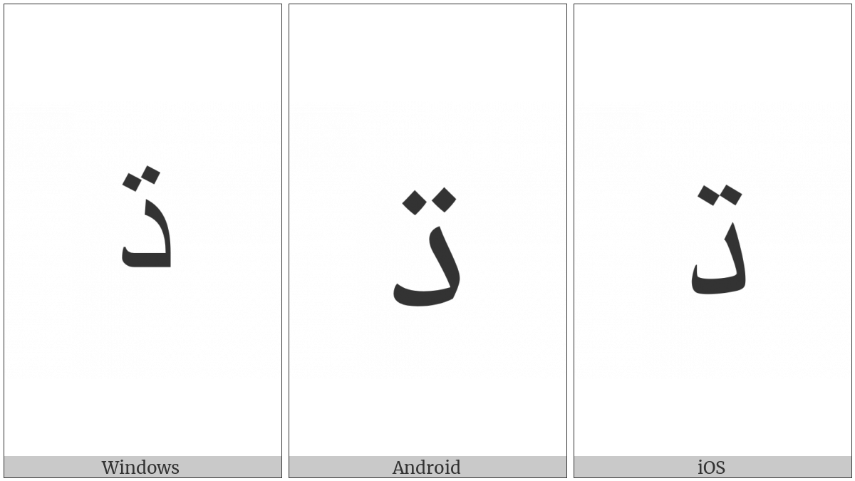 Arabic Letter Dahal on various operating systems