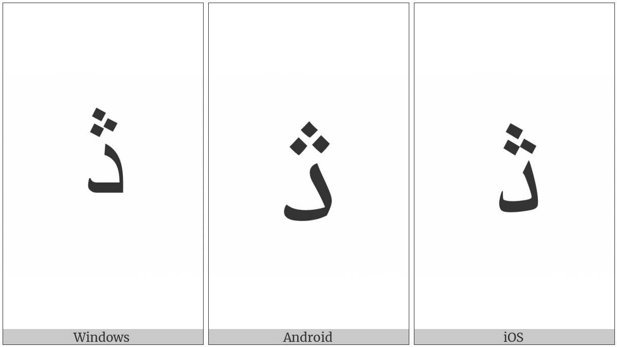 Arabic Letter Dul on various operating systems