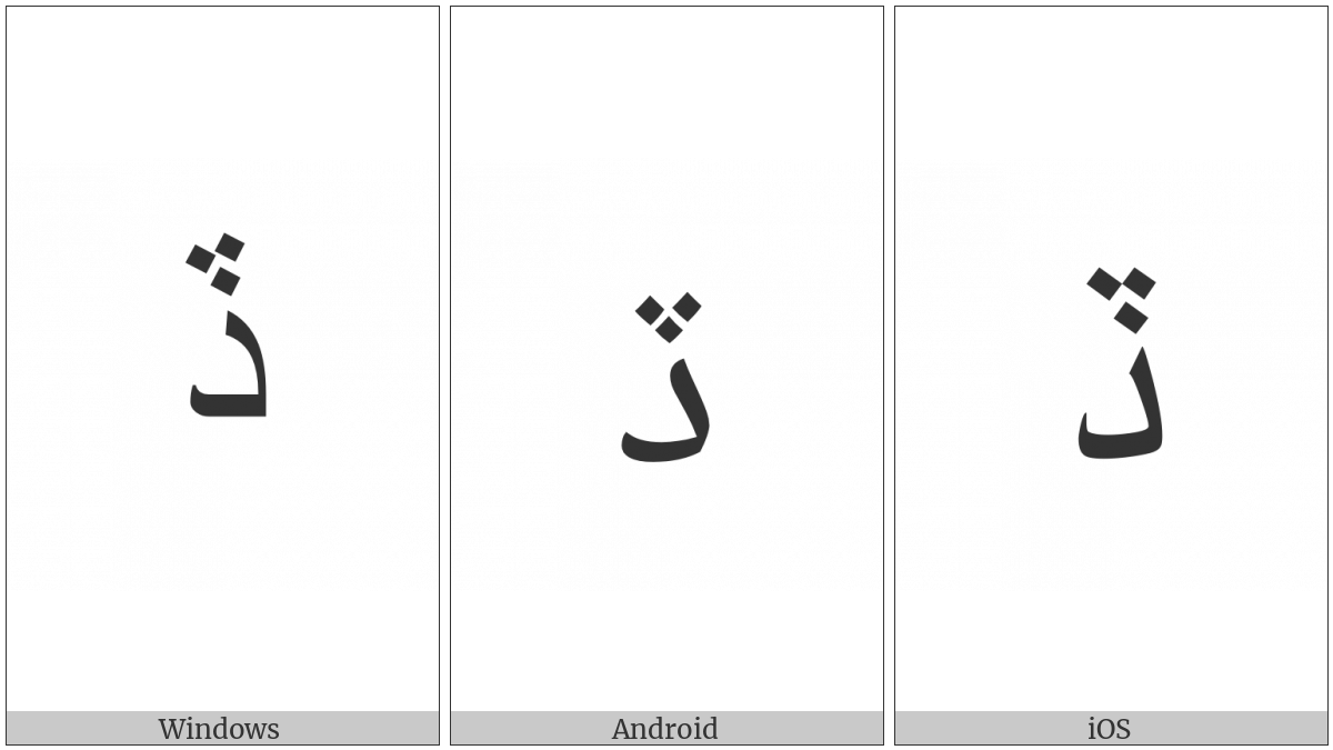 ARABIC LETTER DAL WITH THREE DOTS ABOVE DOWNWARDS utf-8 character