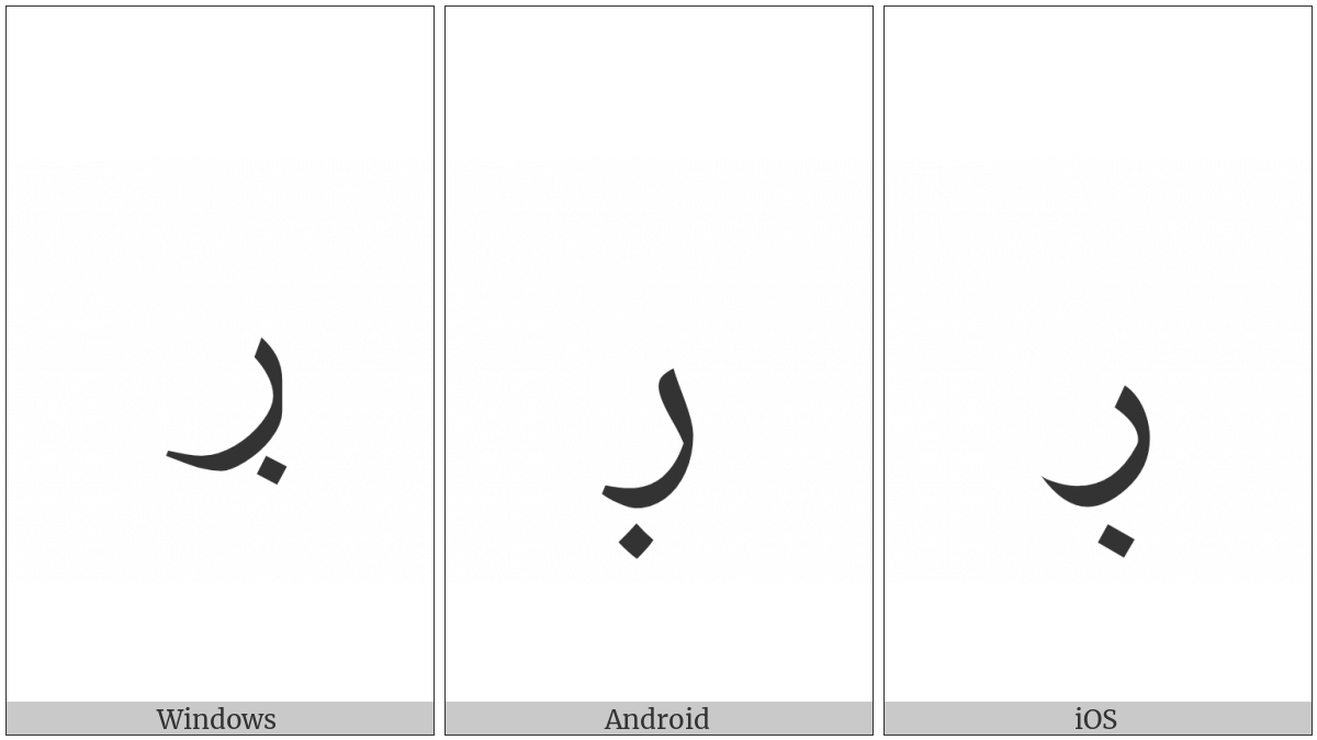 Arabic Letter Reh With Dot Below on various operating systems
