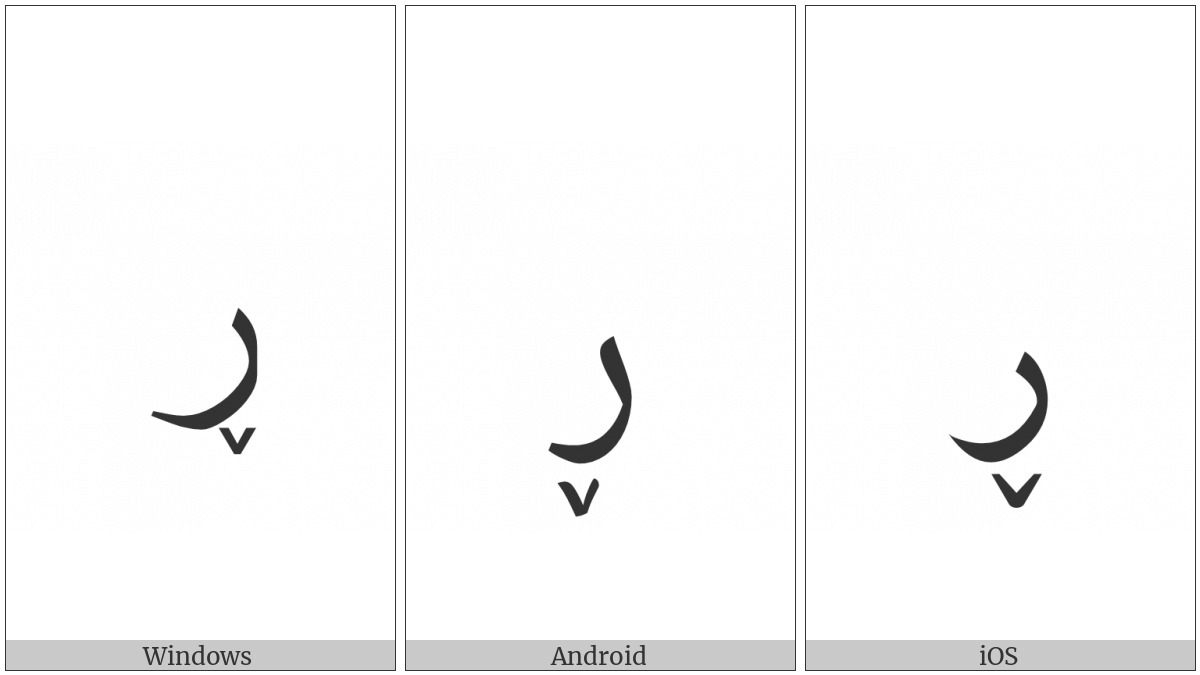 Arabic Letter Reh With Small V Below on various operating systems