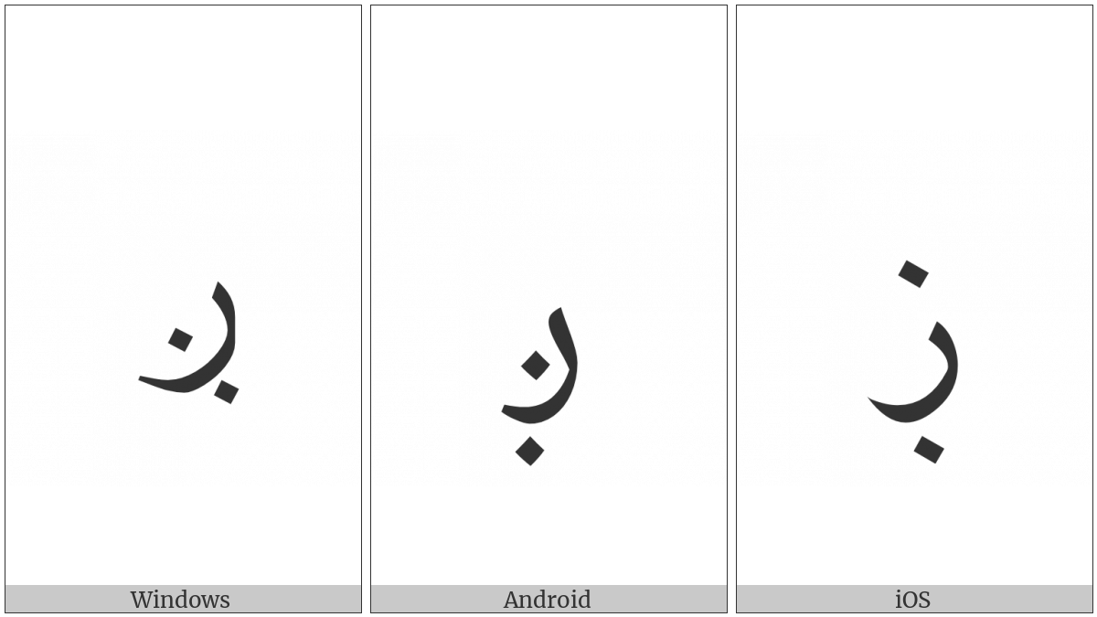 Arabic Letter Reh With Dot Below And Dot Above on various operating systems