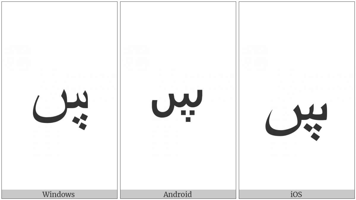 Arabic Letter Seen With Three Dots Below on various operating systems