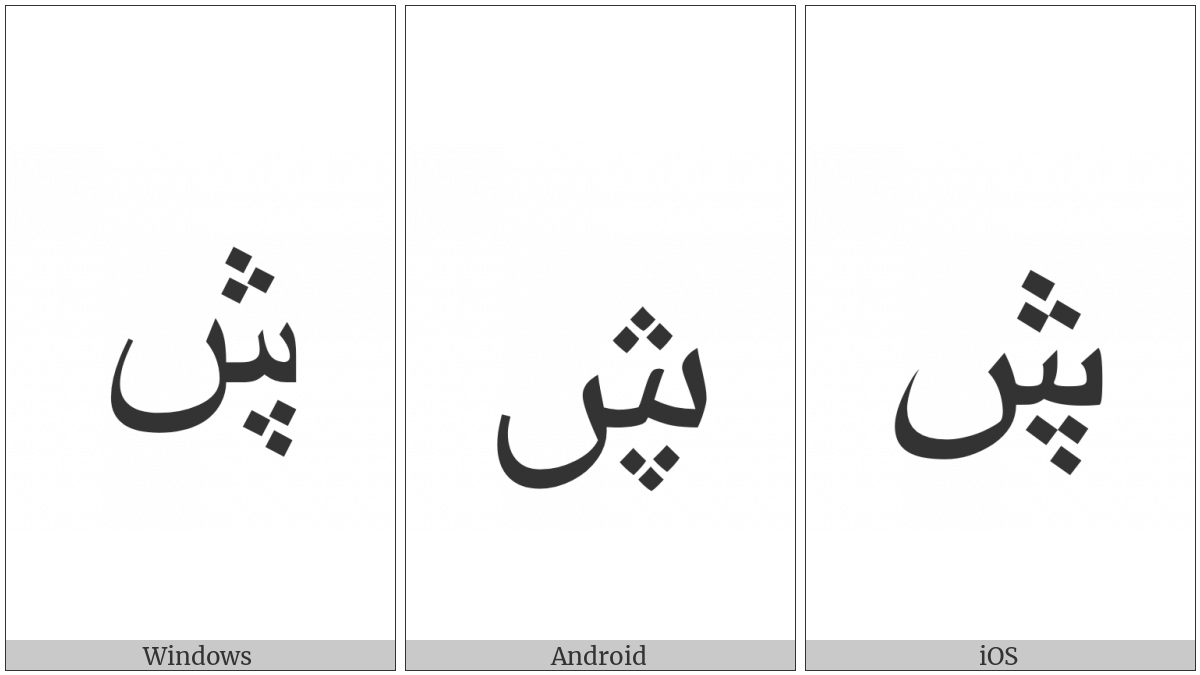 Arabic Letter Seen With Three Dots Below And Three Dots Above on various operating systems