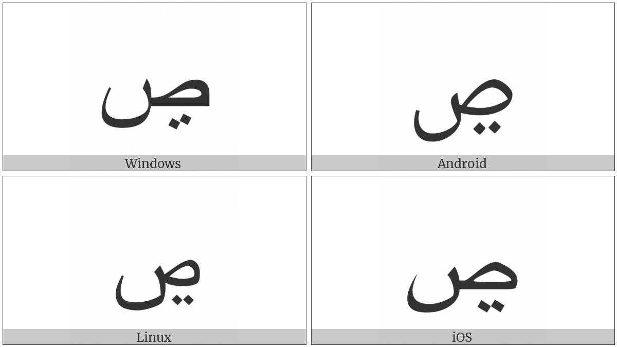Arabic Letter Sad With Two Dots Below on various operating systems