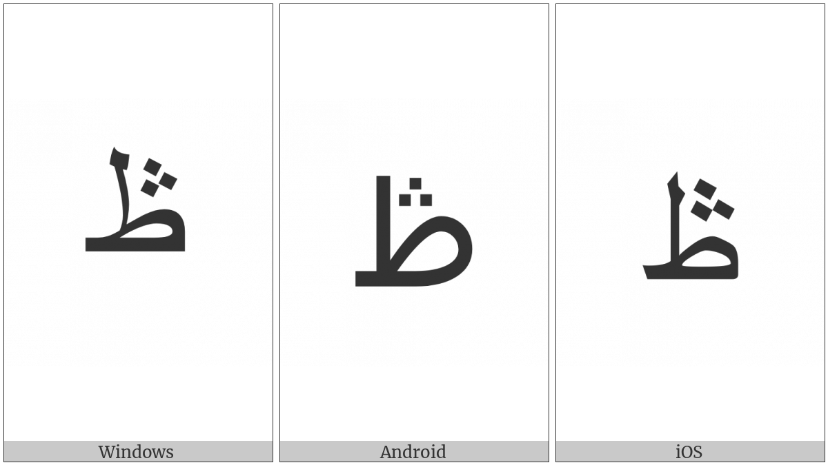 Arabic Letter Tah With Three Dots Above on various operating systems