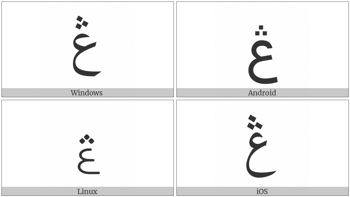 Arabic Letter Ain With Three Dots Above on various operating systems