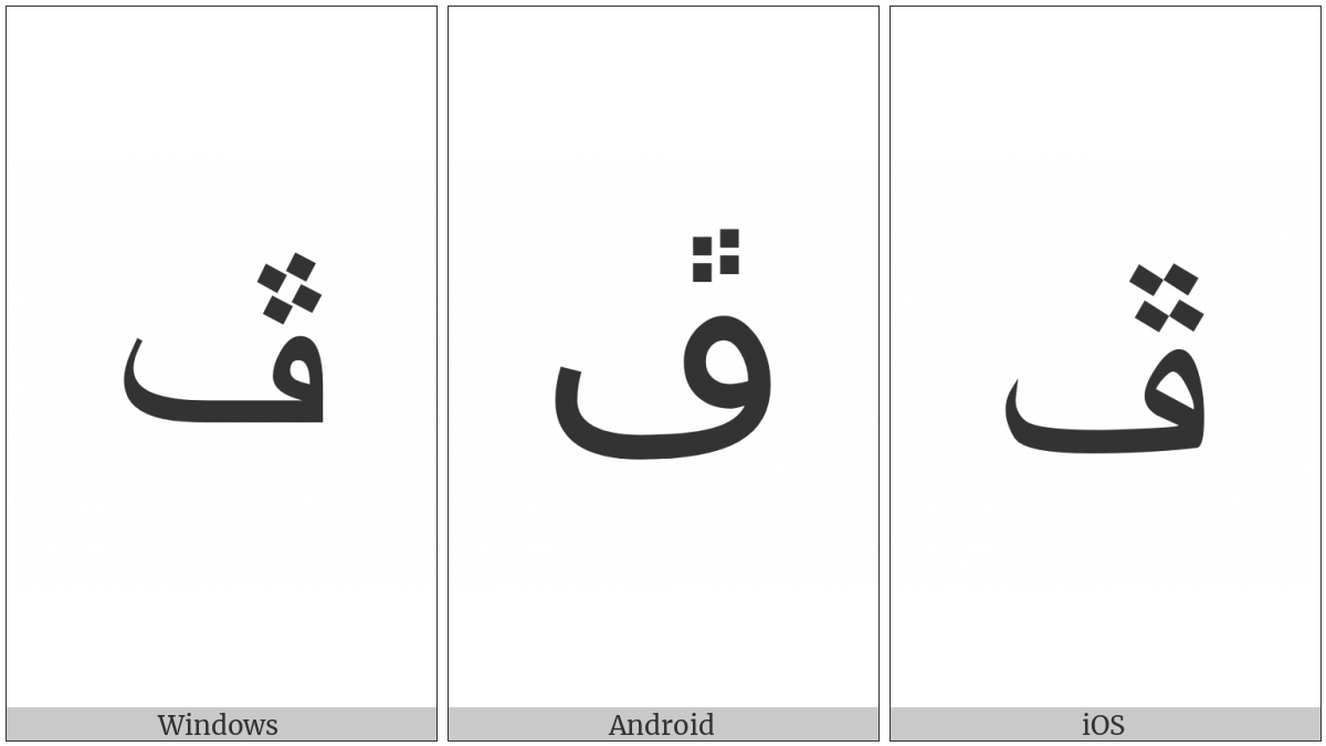 Arabic Letter Peheh on various operating systems
