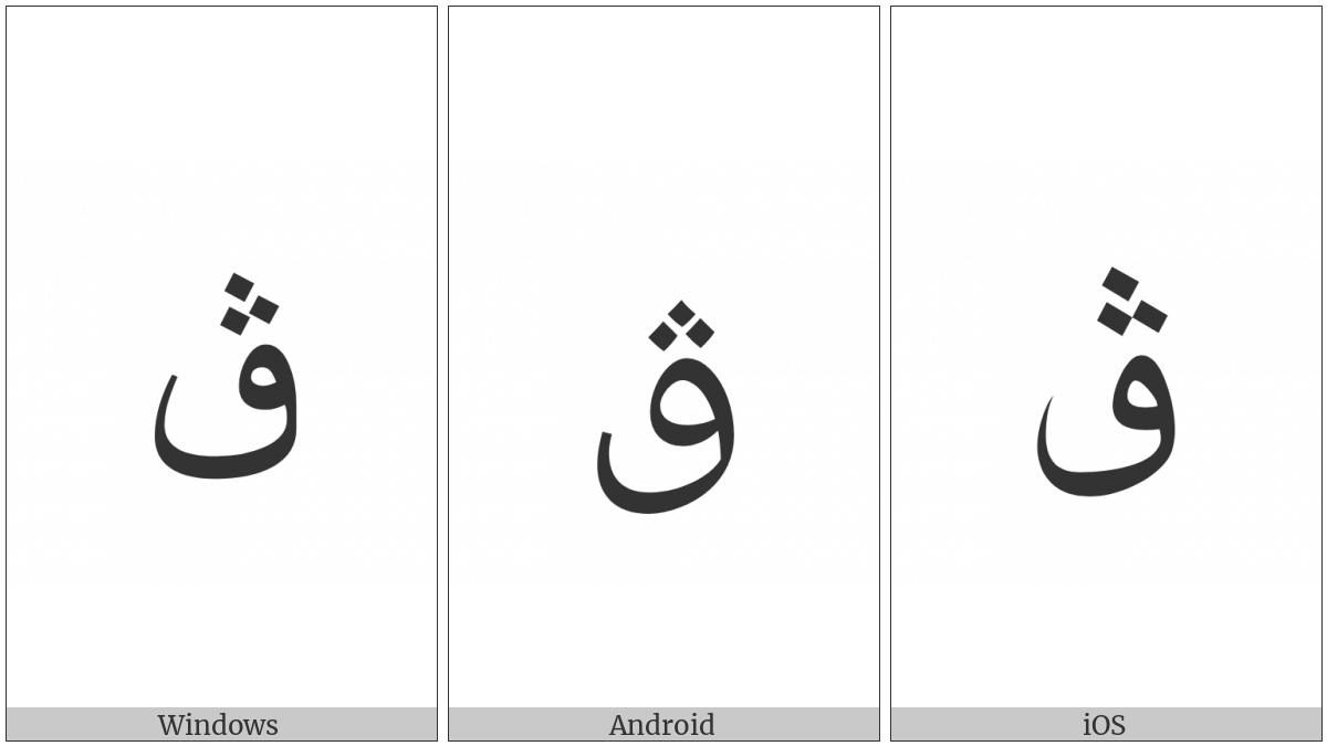 Arabic Letter Qaf With Three Dots Above on various operating systems