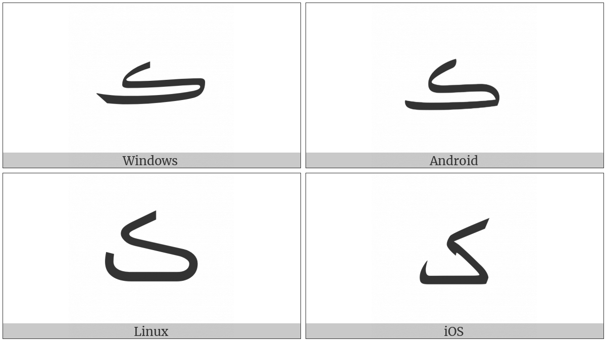 Arabic Letter Swash Kaf on various operating systems