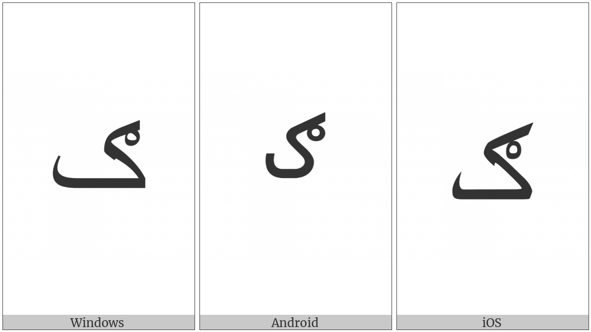 Arabic Letter Kaf With Ring on various operating systems