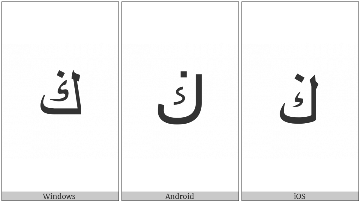 Arabic Letter Kaf With Dot Above on various operating systems
