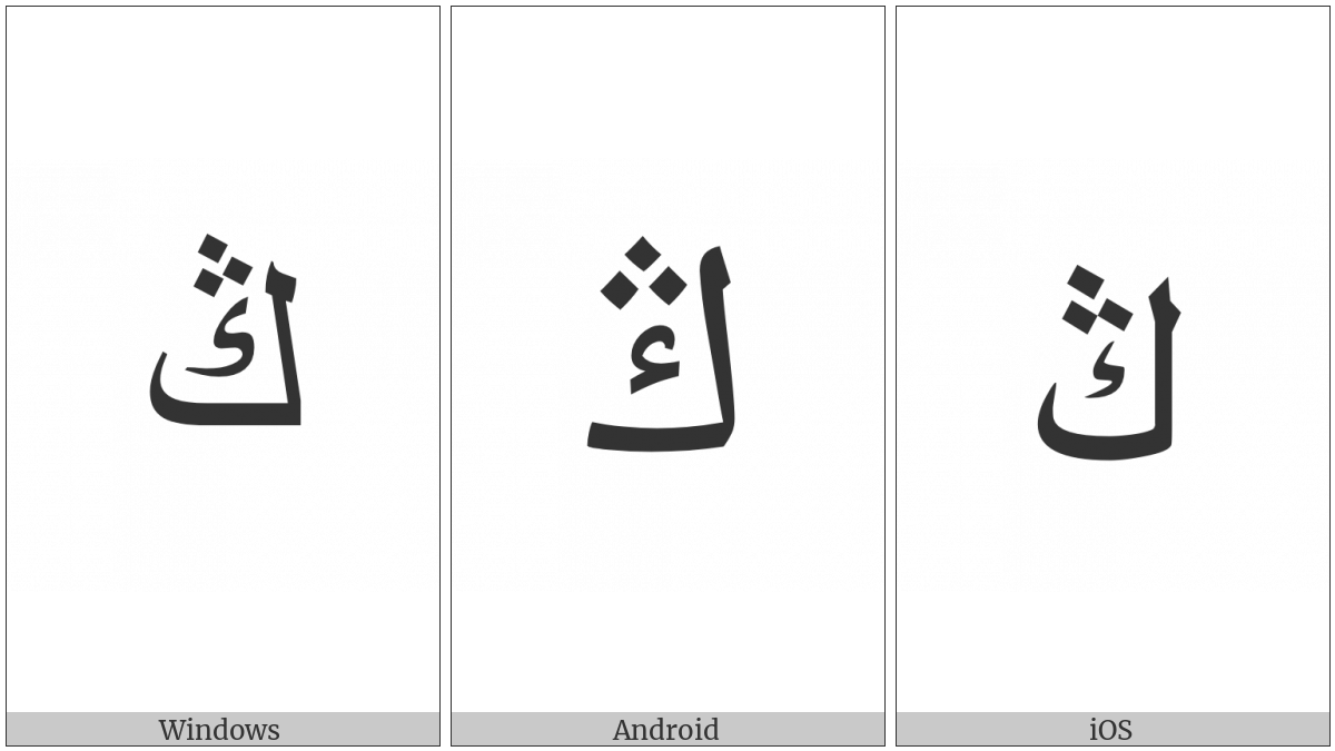 Arabic Letter Ng on various operating systems