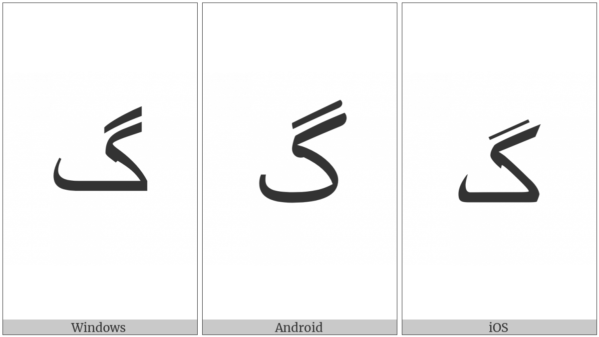 Arabic Letter Gaf on various operating systems