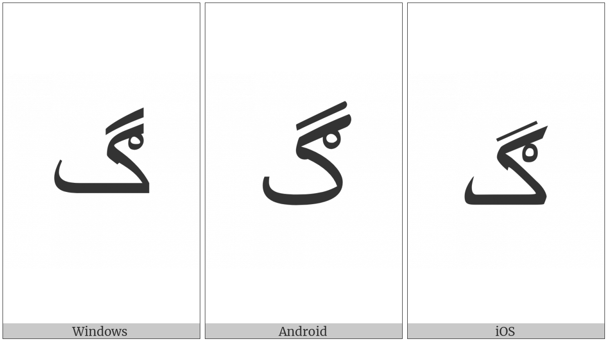 Arabic Letter Gaf With Ring on various operating systems