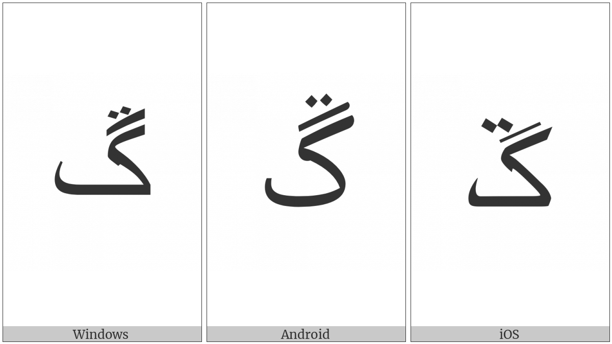 Arabic Letter Ngoeh on various operating systems